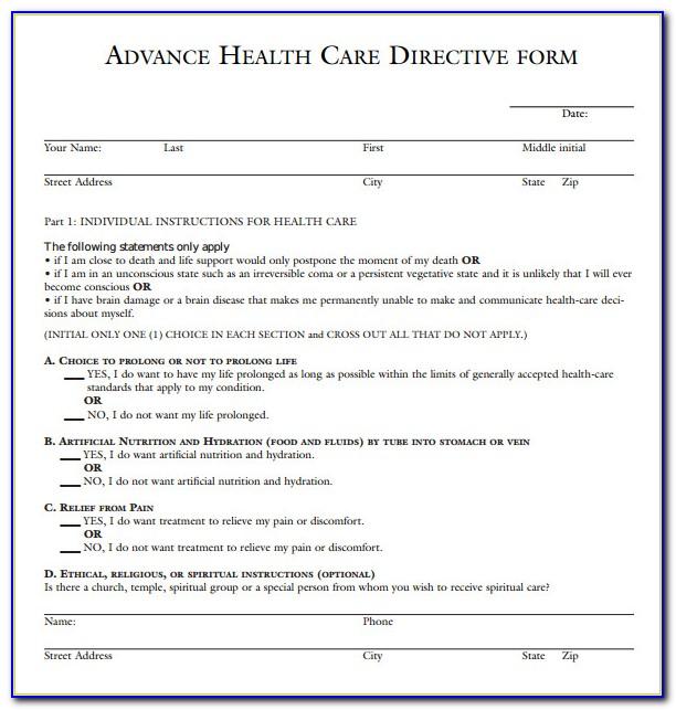 California Advance Medical Directives Form