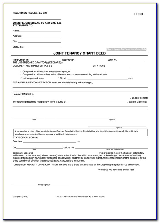 California Joint Tenancy Grant Deed Form