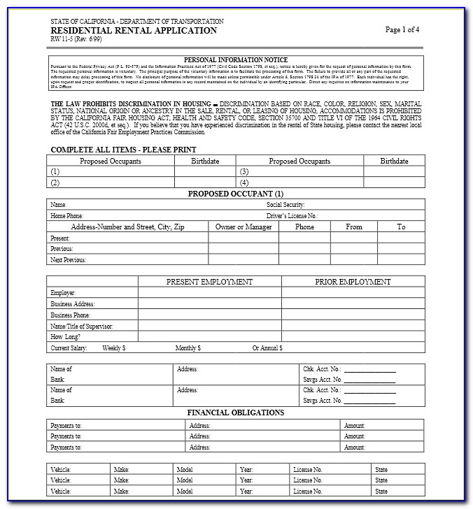 California Residential Lease Agreement Form