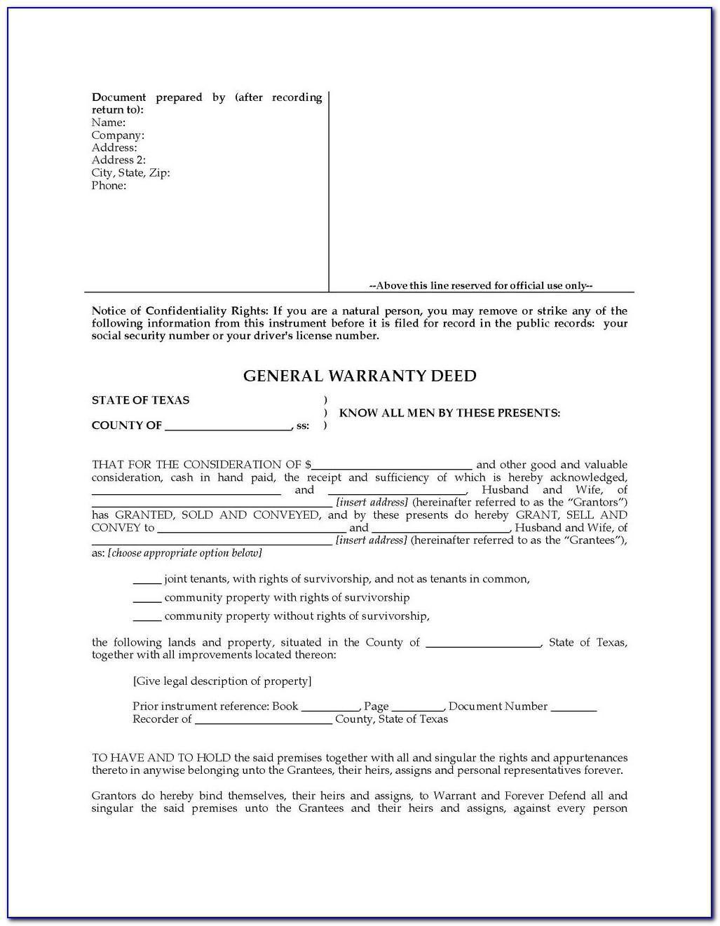 California Special Warranty Deed Form