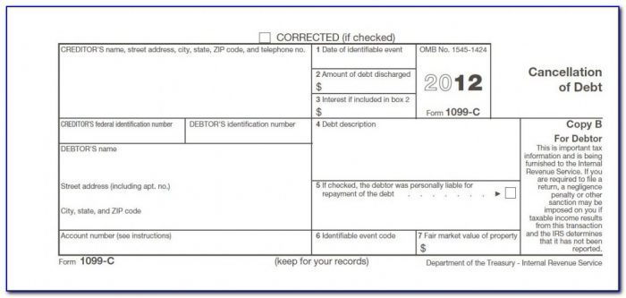 Cancellation Of Debt Income Form 982