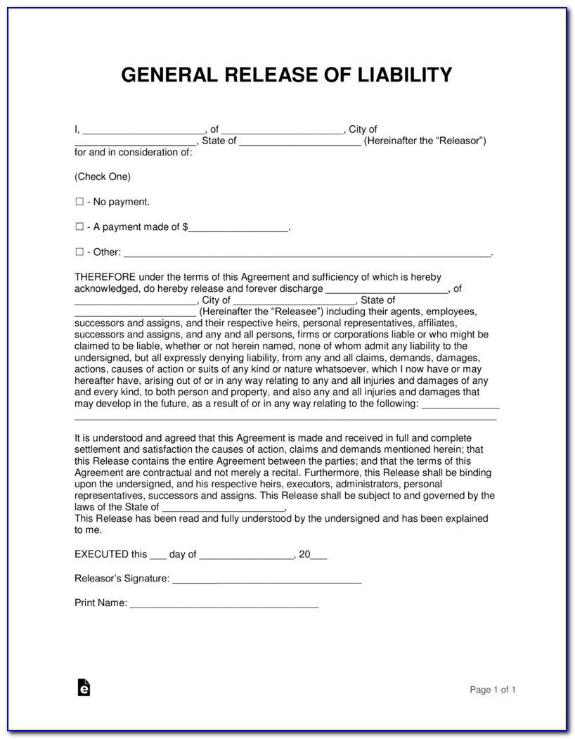 Car Accident Release Of Liability Form Uk