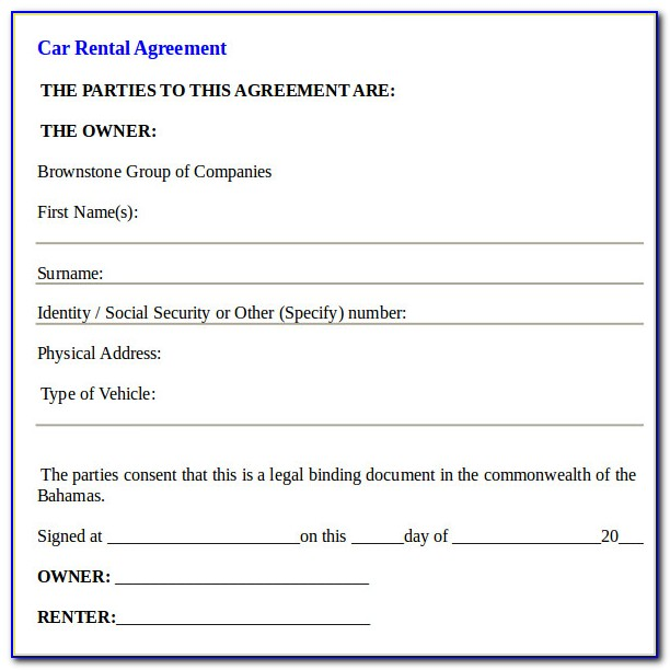 Car Rental Agreement Form Template Form Resume Examples