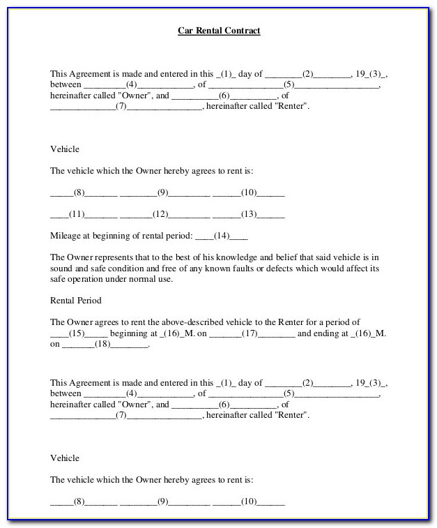 Car Rental Contracts Templates