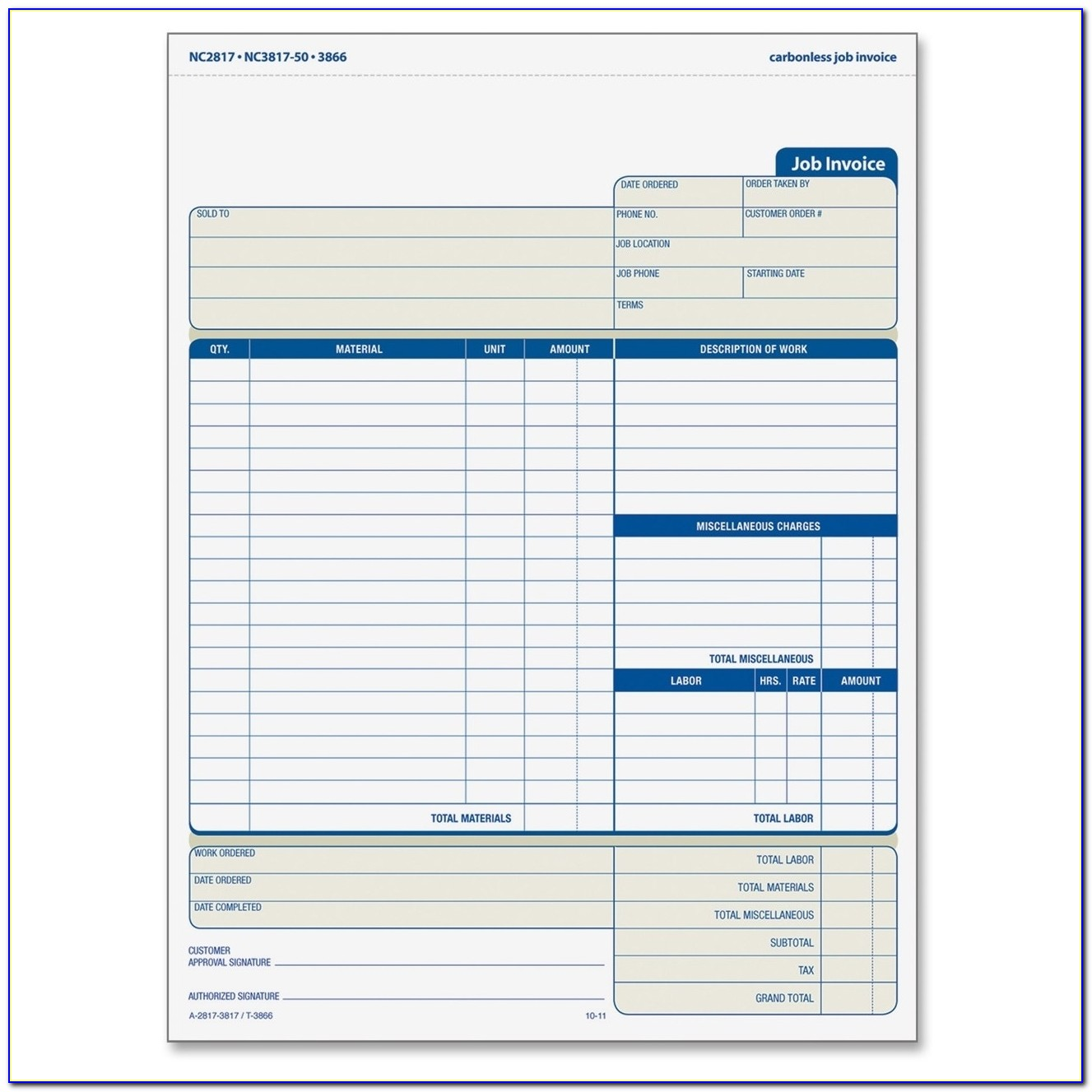 Tops 3866 Three Part Carbonless Job Invoice Forms 3 Part Adams Invoice Forms