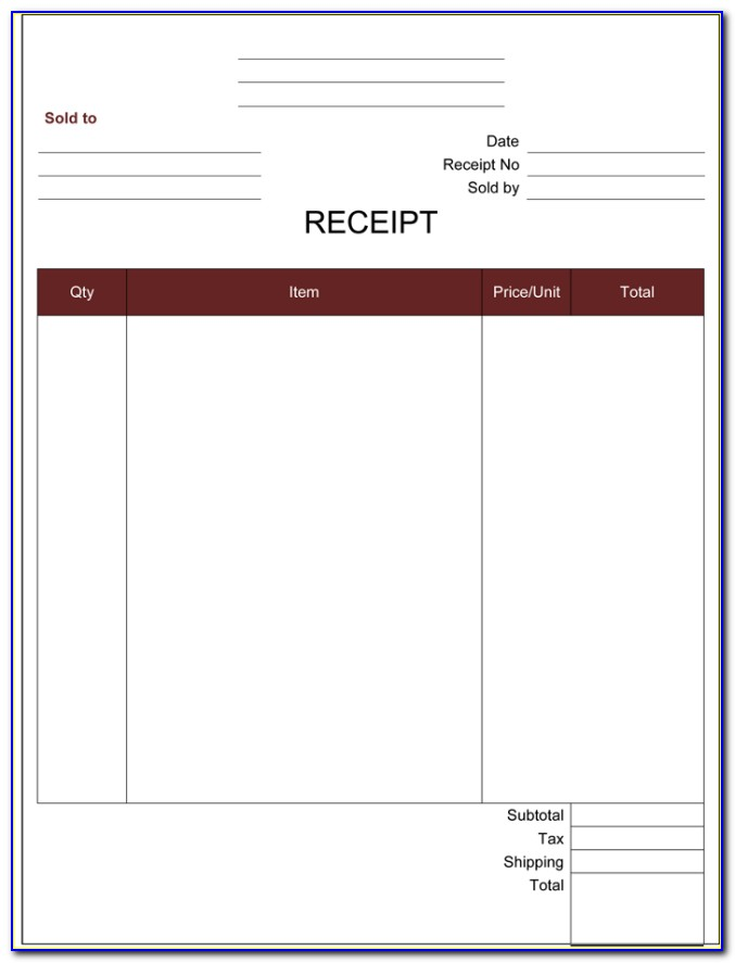 Cash Receipt Forms Free Download
