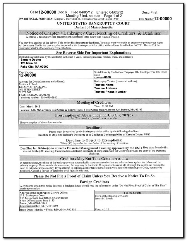 Chapter 7 Bankruptcy Petition Forms