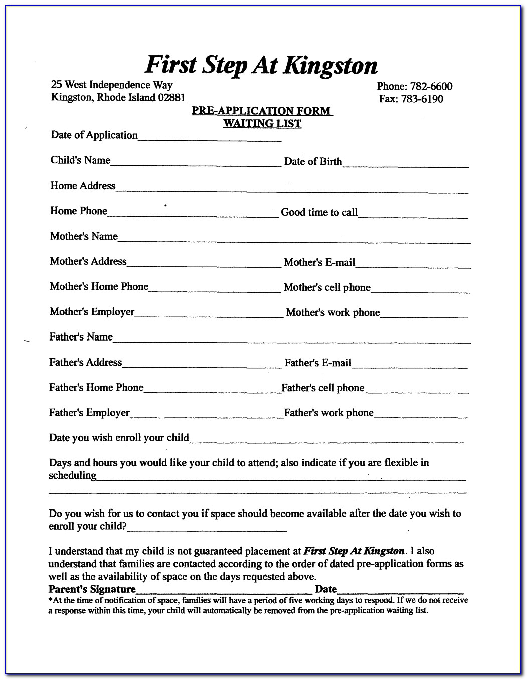 Child Care Enrollment Forms