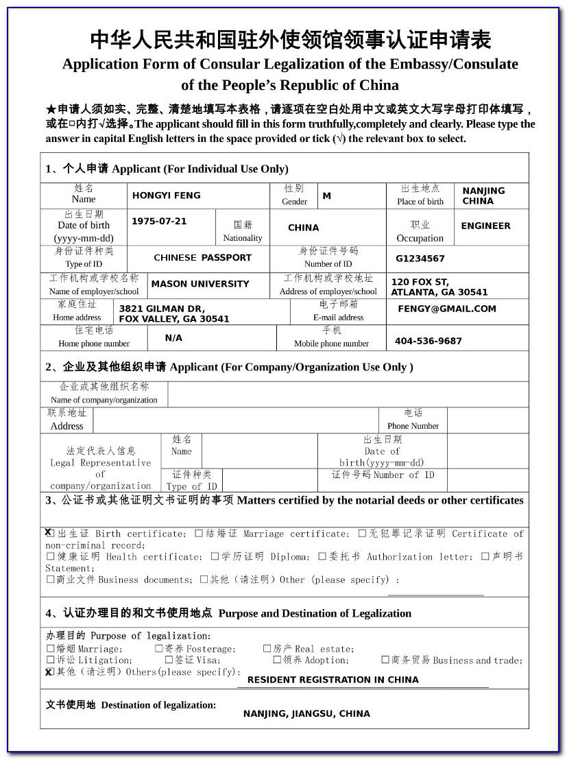 China Embassy Visa Application Form Philippines