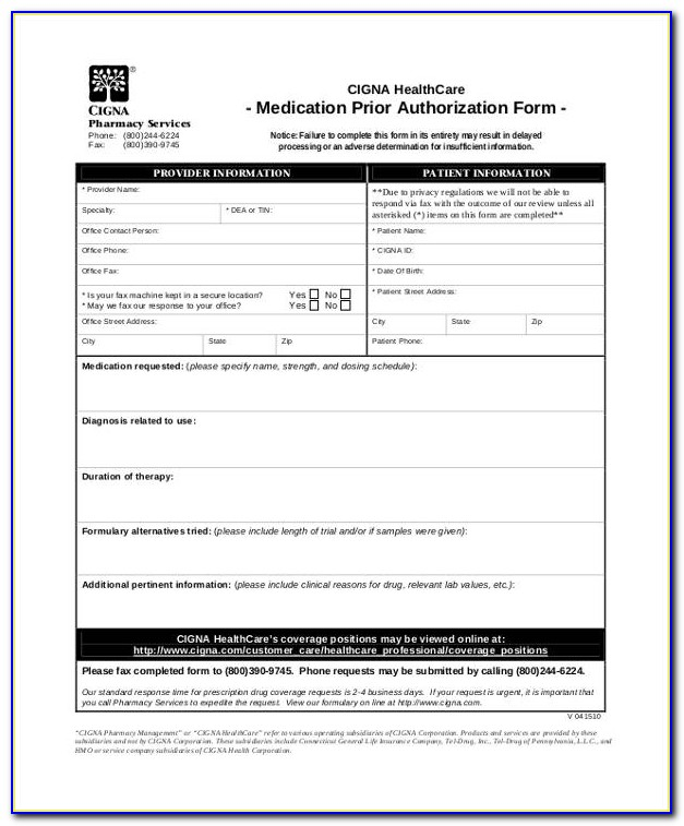 Cigna Medicare Part D Medication Prior Authorization Form