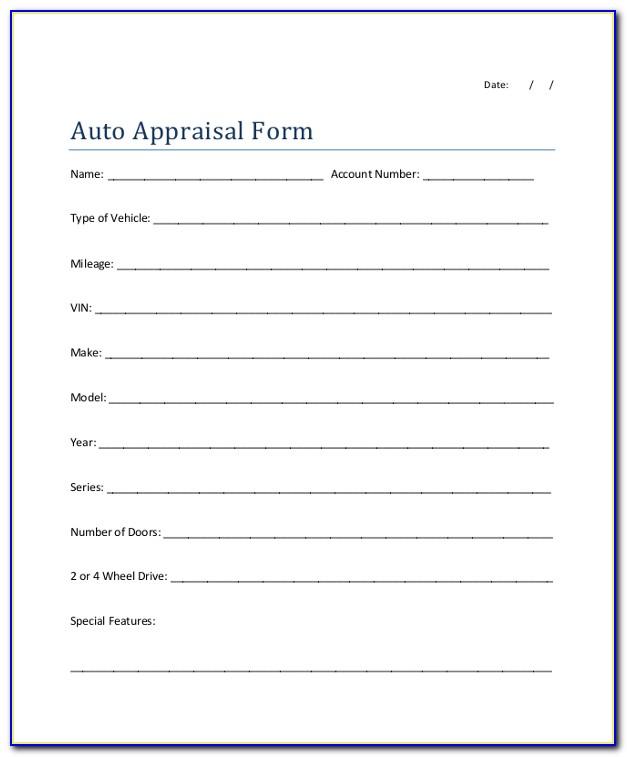 Classic Car Appraisal Form Pdf