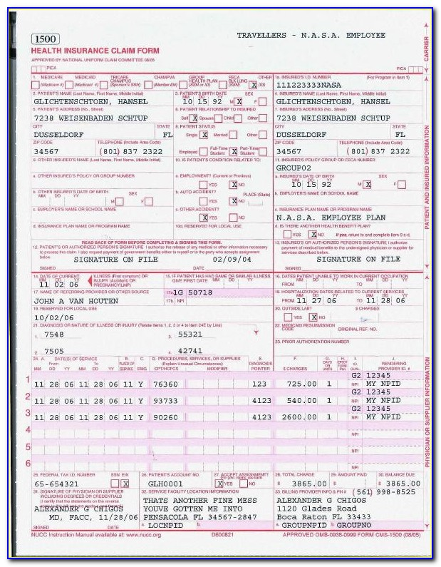 Cms 1500 Form Medicare