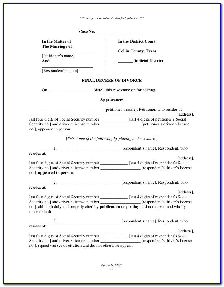 Collin County Divorce Forms