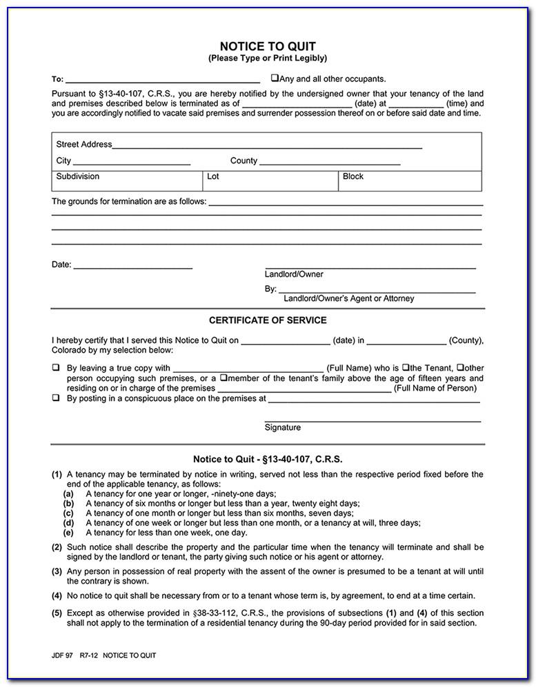 Colorado 3 Day Notice To Vacate Form