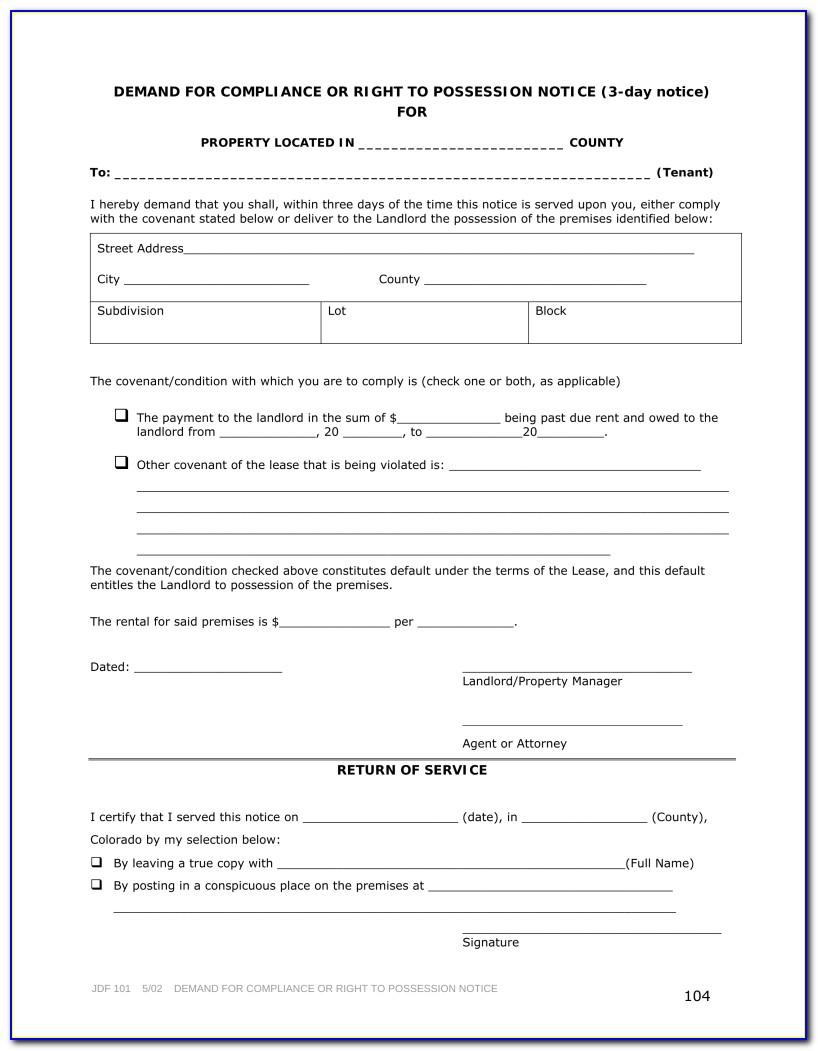 Colorado 30 Day Notice To Vacate Form