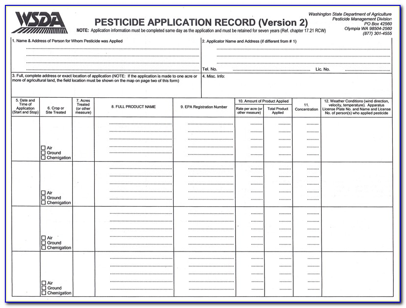 Commercial Pesticide Recordkeeping Form