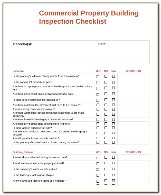 Commercial Property Inspection Template