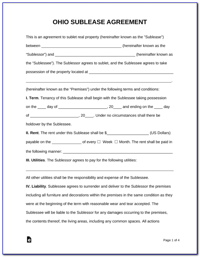 Consent To Sublease Form Template