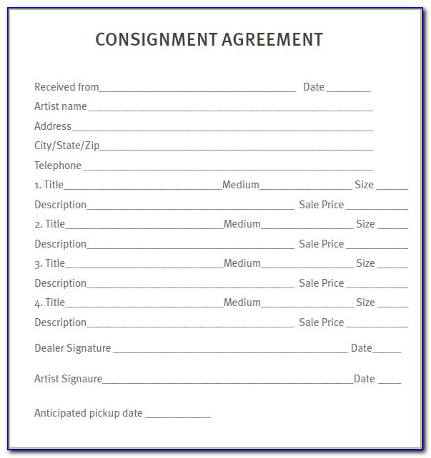 Consignment Agreement Form Template