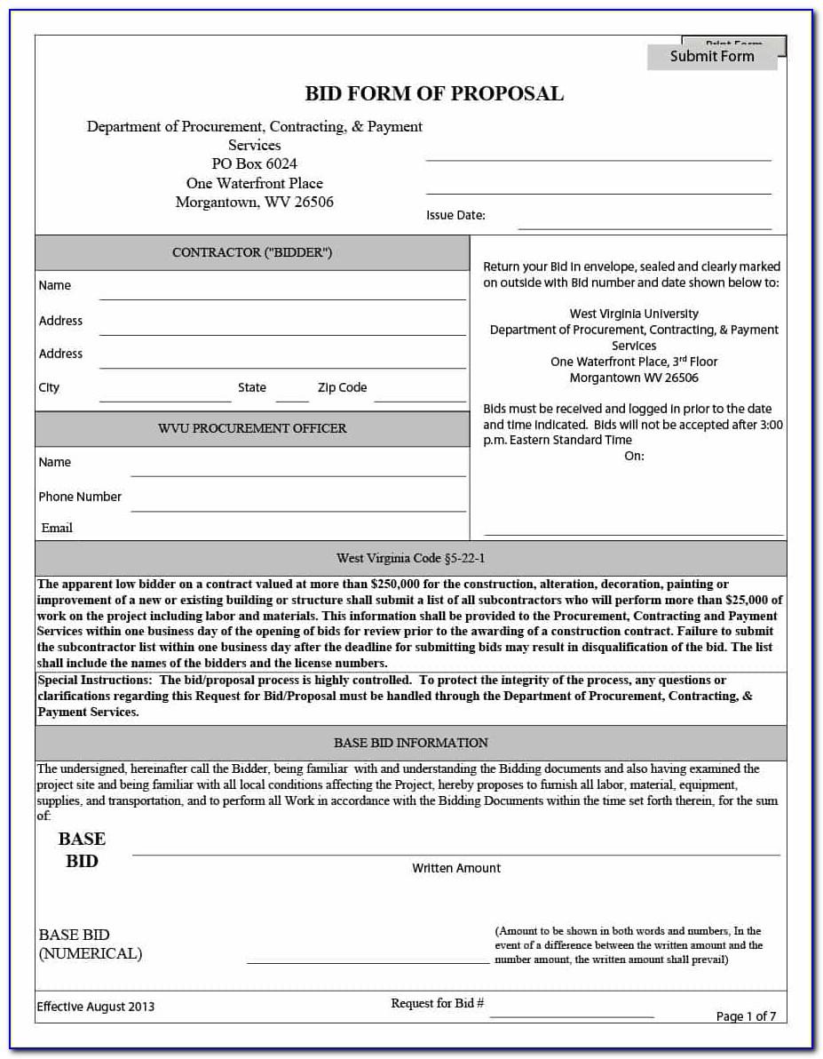 Construction Bid Proposal Forms