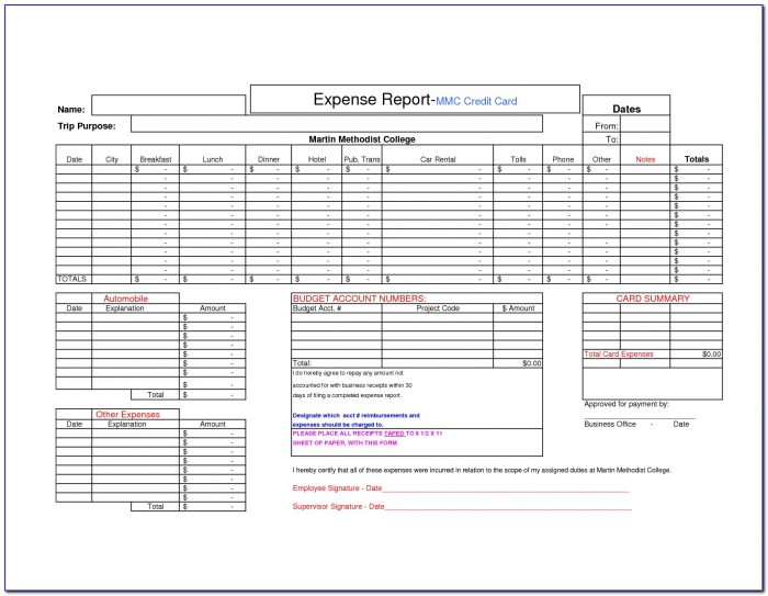 Corporate Credit Card Expense Form
