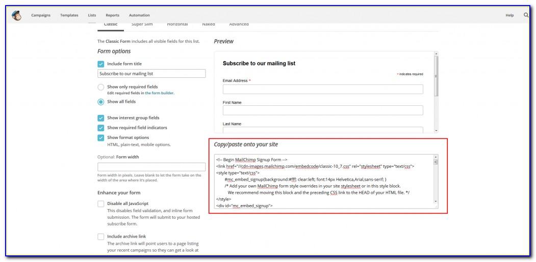 Create A Mailchimp Signup Form