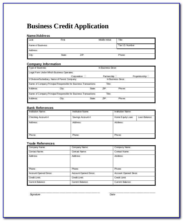 Credit Application Form For Business Template Free