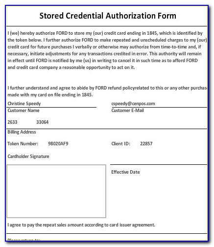 Credit Card Authorization Form Pci Compliance