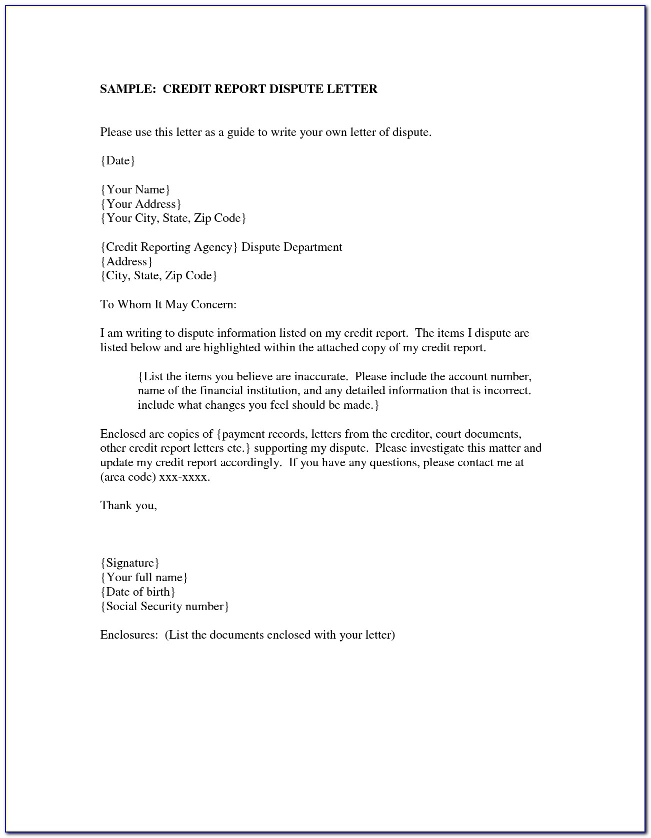 Dispute Credit Report Letter | | Best Business Template For Dispute Credit Report Letter