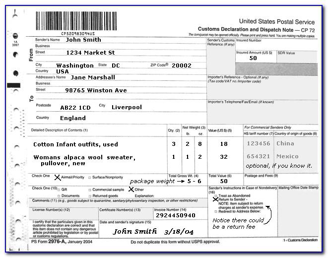 Customs Form 2976 Online