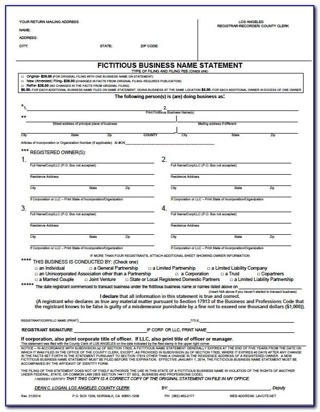Dba California Form