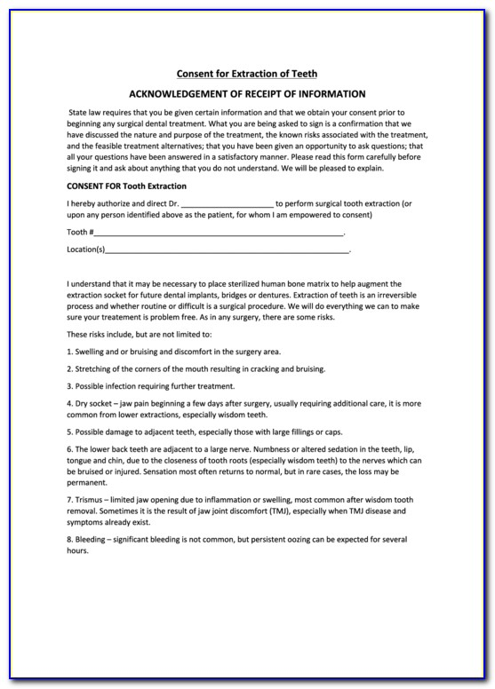 Dental Extraction Consent Form In Hindi