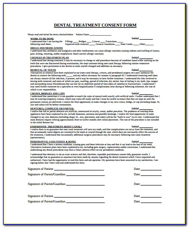 Dental Extraction Consent Form Template Uk