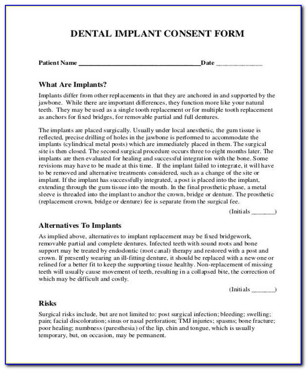 Dental Extraction Consent Form Uk