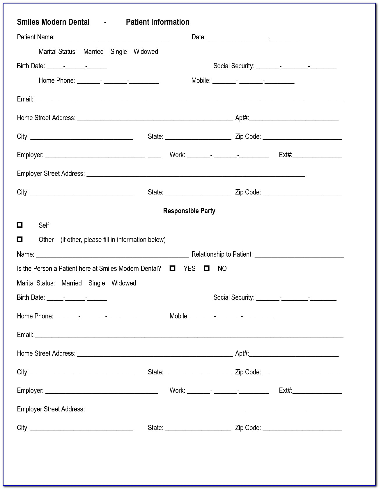 Dental Patient Feedback Form Template