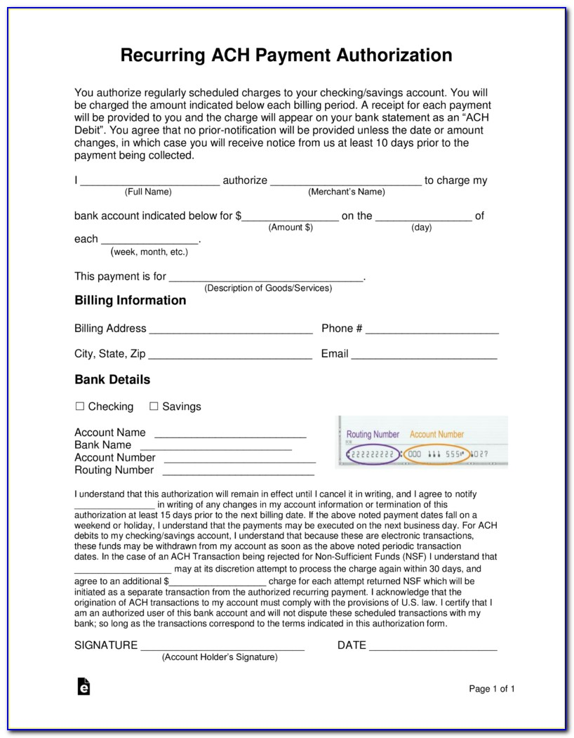 Direct Deposit Authorization Form Template