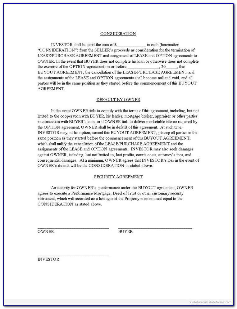 Divorce Buyout Agreement Form