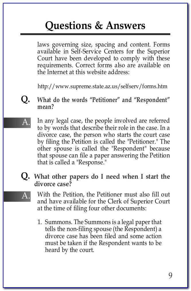 Divorce Forms Arizona Superior Court