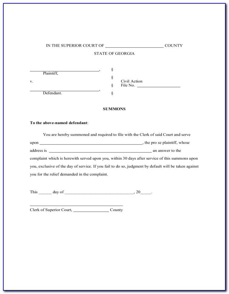 Divorce Forms Atlanta Ga