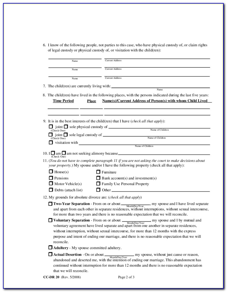 Divorce Forms Montgomery County Maryland
