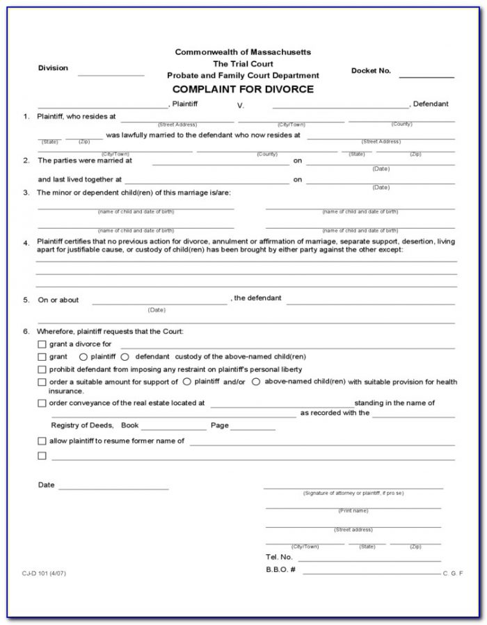 Divorce Massachusetts Forms