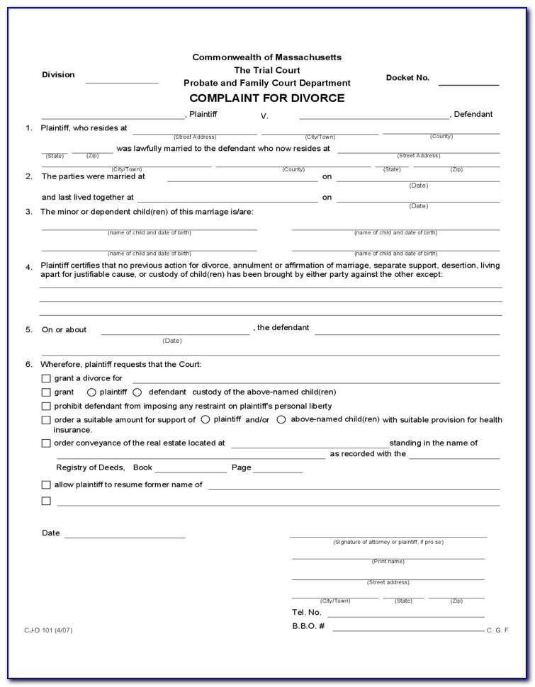 Divorce Massachusetts Forms