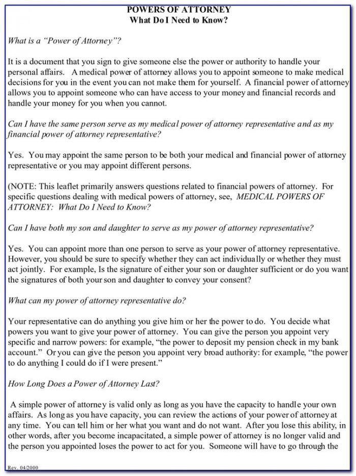 Durable Financial Power Of Attorney Form Virginia