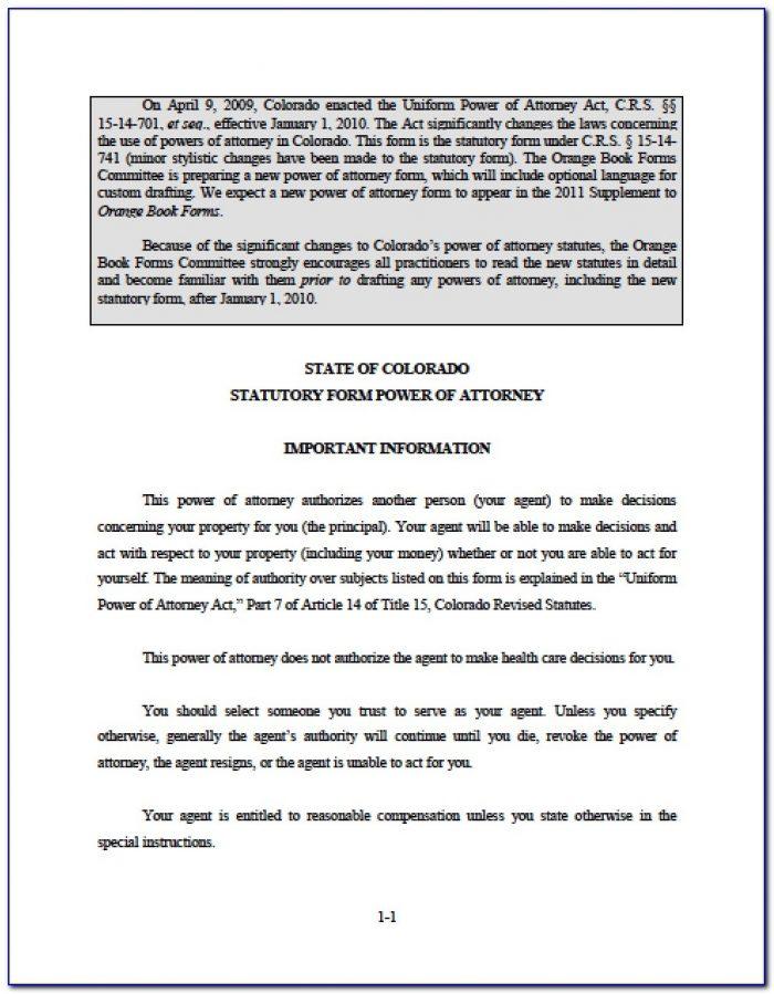 Durable Power Of Attorney Colorado Form Free
