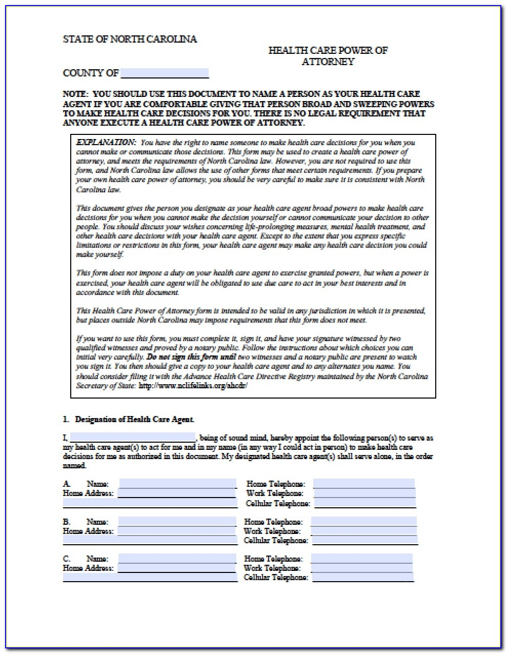 Durable Power Of Attorney North Carolina Form – Adobe Pdf