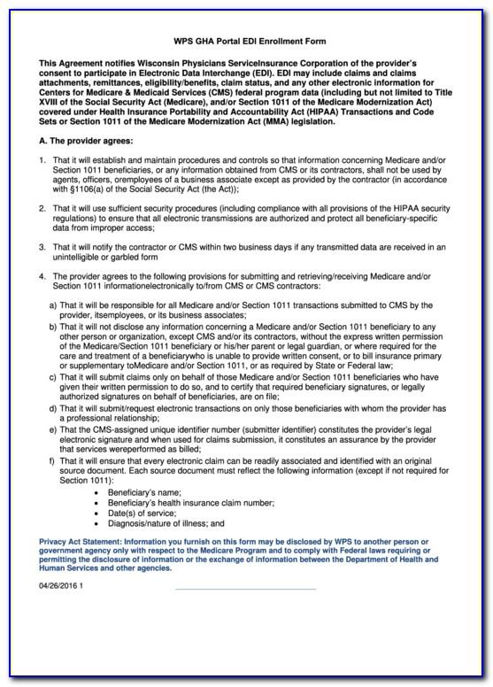 Edi Enrollment Form For Medicare