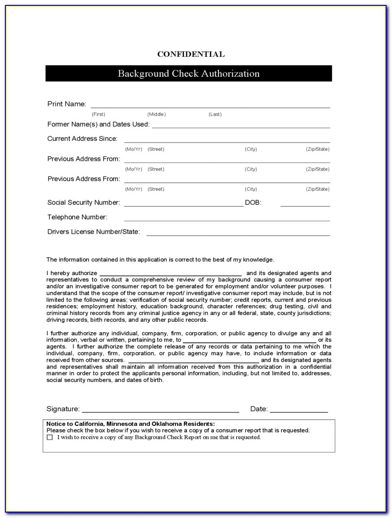 Employee Background Check Form Template