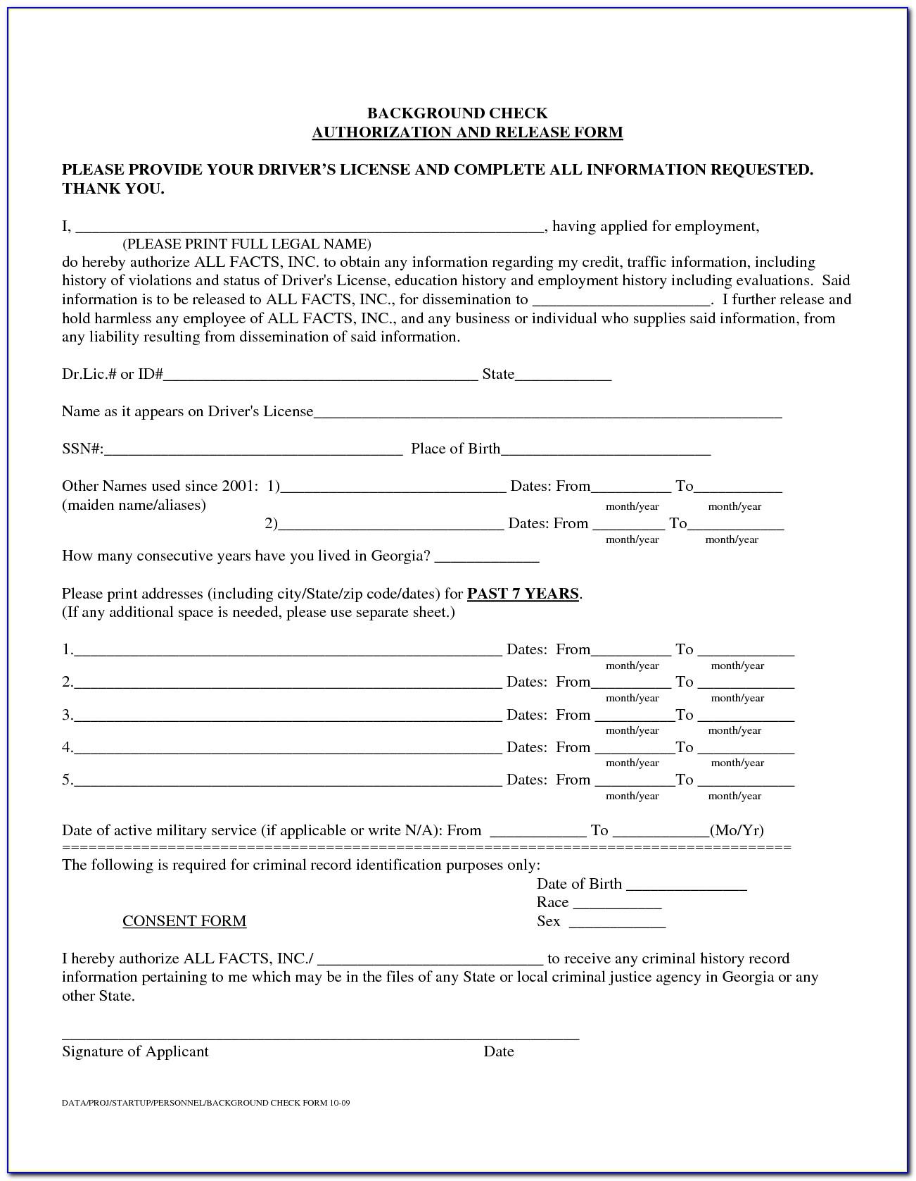 Employee Background Verification Form Sample
