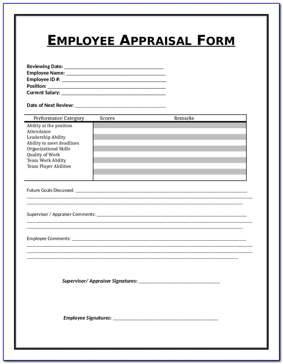 Employee Evaluation Form Free Sample Employee Performance Pertaining To Employee Evaluation Template