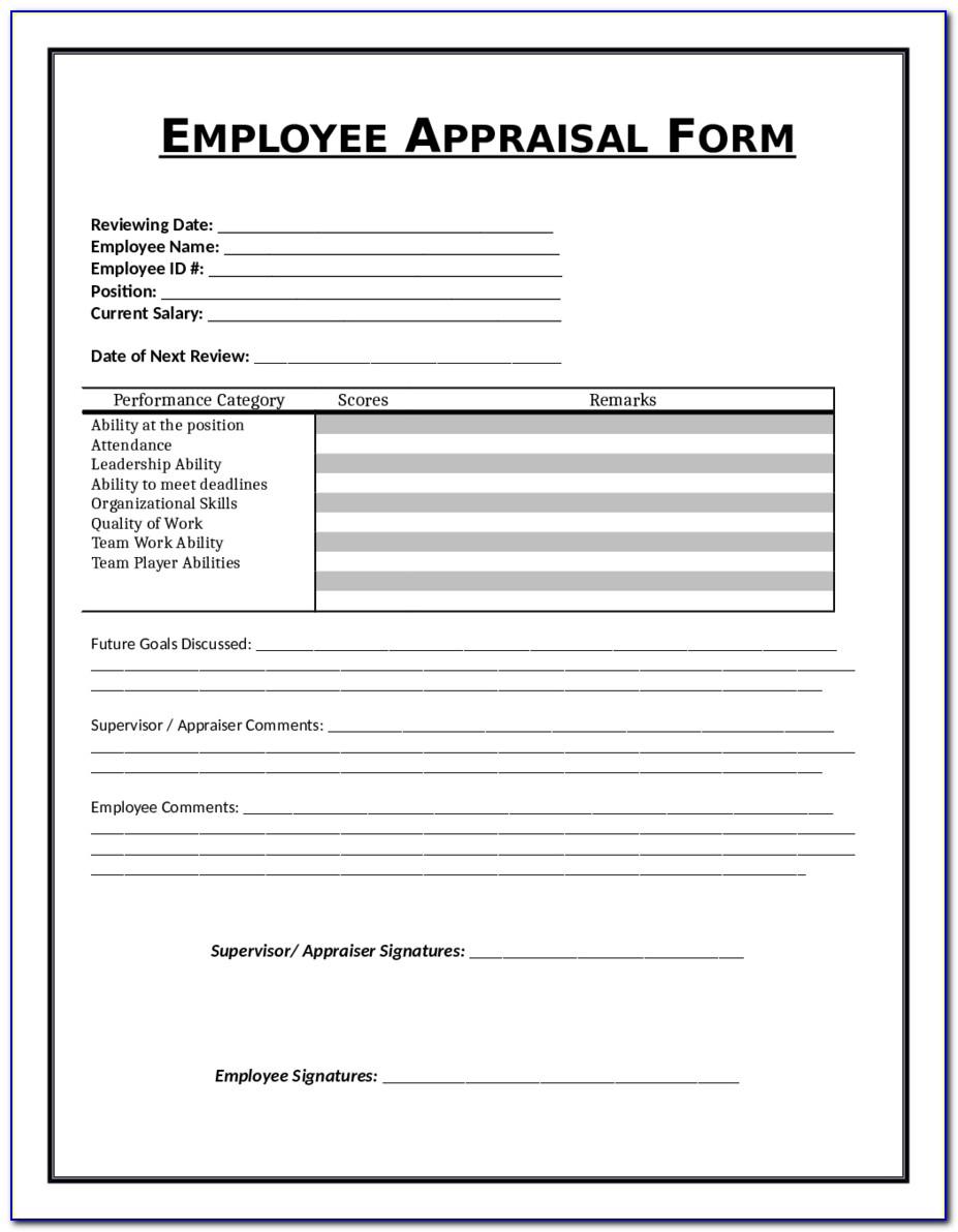 Employee Evaluation Form Free Sample Employee Performance Pertaining To Employee Evaluation Template